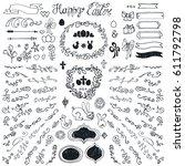 easter decoration set.doodles... | Shutterstock .eps vector #611792798