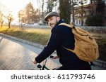 travel man with bicycle and...   Shutterstock . vector #611793746