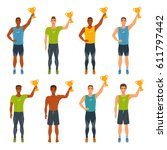 male athletes in sports uniform ... | Shutterstock .eps vector #611797442
