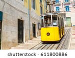 the gloria funicular in the... | Shutterstock . vector #611800886