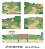 walk way and bench in park with ... | Shutterstock .eps vector #61180417