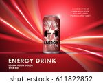 energy drink on wavy backdrop... | Shutterstock .eps vector #611822852