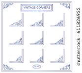 vector set of vintage square... | Shutterstock .eps vector #611826932