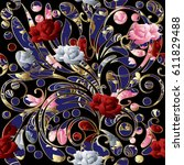 Floral Seamless Pattern With 3...