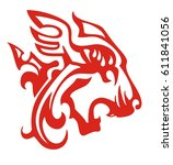 flaming aggressive lion head...   Shutterstock .eps vector #611841056