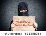 muslim girl in black hijab... | Shutterstock . vector #611858366