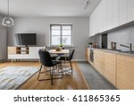 modern apartment with open wood ... | Shutterstock . vector #611865365