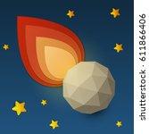 flame falling meteorite in... | Shutterstock .eps vector #611866406