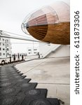 Small photo of Airship on the roof Prague gallery DOX, Czech Republic, January 2th 2017, Editorial photo