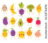 huge set of cute vegetables and ... | Shutterstock .eps vector #611876696