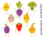 set of cute vegetables and... | Shutterstock .eps vector #611876702