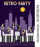 six dancing couples dancing on... | Shutterstock .eps vector #611878256