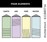 four elements icons  line... | Shutterstock .eps vector #611880716