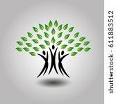 tree. happy  joyous people as... | Shutterstock .eps vector #611883512