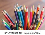 set of colored pencils in the...   Shutterstock . vector #611886482