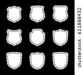 shield shape icons set. white... | Shutterstock .eps vector #611888432