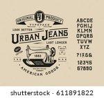 font urban jeans. craft vintage ... | Shutterstock .eps vector #611891822