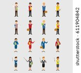 teacher character design vector | Shutterstock .eps vector #611904842