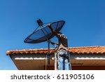 technicians install satellite... | Shutterstock . vector #611905106