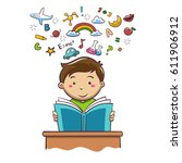 boy reading book. education.... | Shutterstock .eps vector #611906912