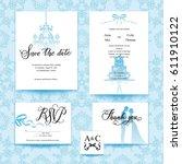 wedding blue card | Shutterstock .eps vector #611910122