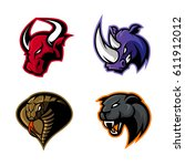 furious bull  cobra  panther... | Shutterstock .eps vector #611912012