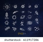 space flat icons drawing with... | Shutterstock .eps vector #611917286