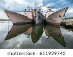 Small photo of US Navi warships in the dock. Ticonderoga Class Aegis Guided Missile Cruisers