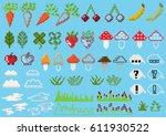 set of pixel elements for games ...