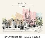 hanseatic city of  lubeck ... | Shutterstock .eps vector #611941316