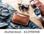 men's leather accessory ... | Shutterstock . vector #611950448