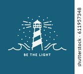 lighthouse and waves... | Shutterstock .eps vector #611957348