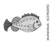 sea fish icon in monochrome... | Shutterstock . vector #611962052