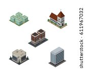 isometric building set of... | Shutterstock .eps vector #611967032