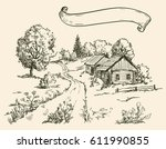 village houses and farmland.... | Shutterstock .eps vector #611990855