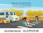multiracial kids walking across ... | Shutterstock .eps vector #611992928