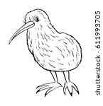 animal outline for kiwi bird... | Shutterstock .eps vector #611993705