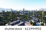 futuristic city  town.... | Shutterstock . vector #611994902