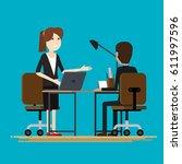 business two people talking...   Shutterstock .eps vector #611997596