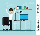 business people happy in room...   Shutterstock .eps vector #611997812
