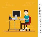 men working in room at office... | Shutterstock .eps vector #611997818