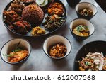 nasi campur  asian dish made of ... | Shutterstock . vector #612007568