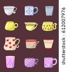 set of cups  | Shutterstock .eps vector #612007976