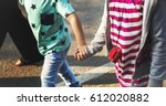 group of children are in a... | Shutterstock . vector #612020882