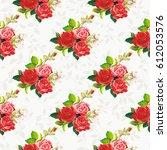 seamless floral pattern rose... | Shutterstock .eps vector #612053576