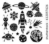 space cartoon set. spaceship ... | Shutterstock .eps vector #612057626
