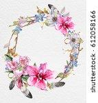 wreaths of flowers watercolor   Shutterstock . vector #612058166