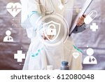 doctor pushing button locked... | Shutterstock . vector #612080048