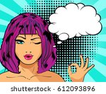pop art woman winks with hand... | Shutterstock .eps vector #612093896