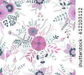 vector floral pattern. colorful ... | Shutterstock .eps vector #612103112